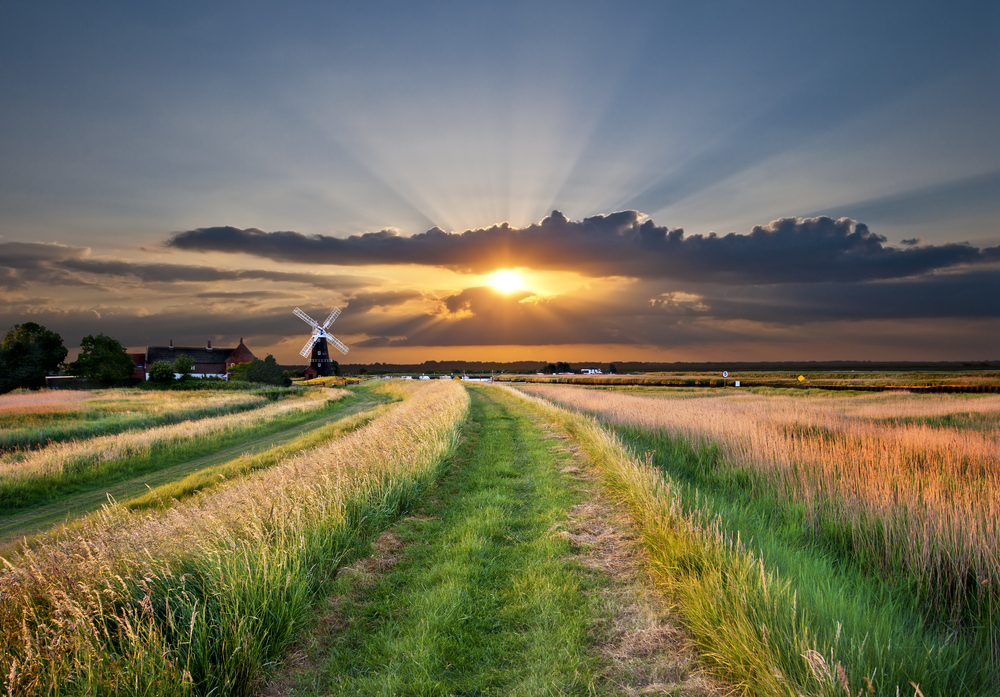 Norfolk landscape, windmill and sunset